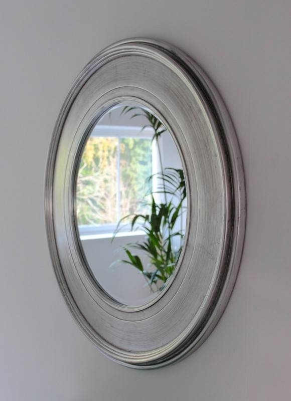Shimmering Silver Round Mirror For Silver Round Mirrors (#25 of 30)