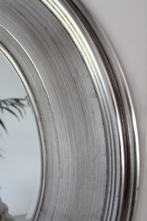 Shimmering Silver Round Mirror | Mirrors For Large Round Silver Mirrors (#27 of 30)