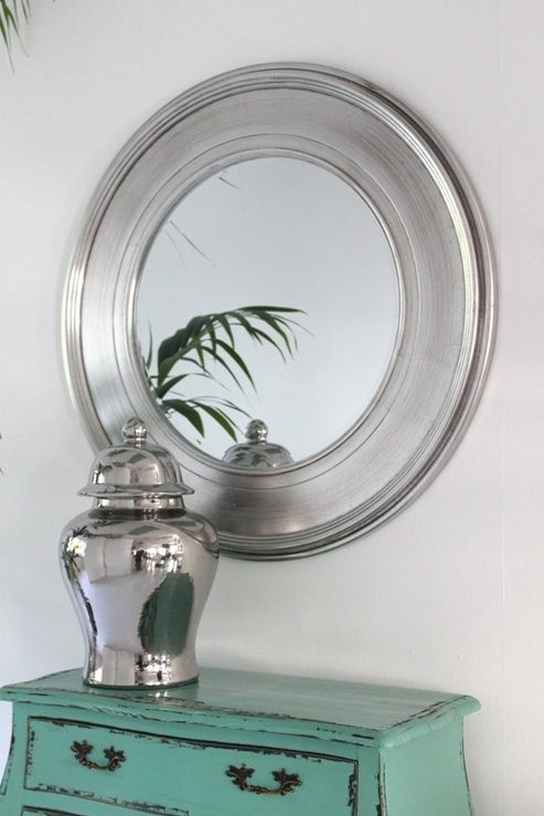 Shimmering Silver Round Mirror | Mirrors Throughout Silver Round Mirrors (#26 of 30)