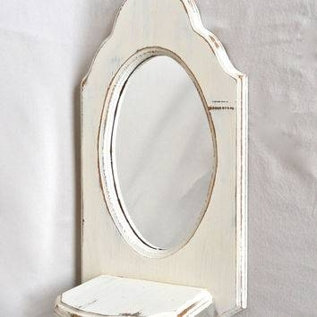Shop White Shabby Chic Mirror On Wanelo In Shabby Chic Mirrors With Shelf (#28 of 30)