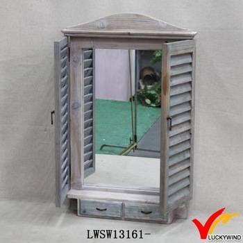 Shutter Design Wood Window Mirror For Wall Decoration – Buy Wood Within Window Shutter Mirrors (#25 of 30)