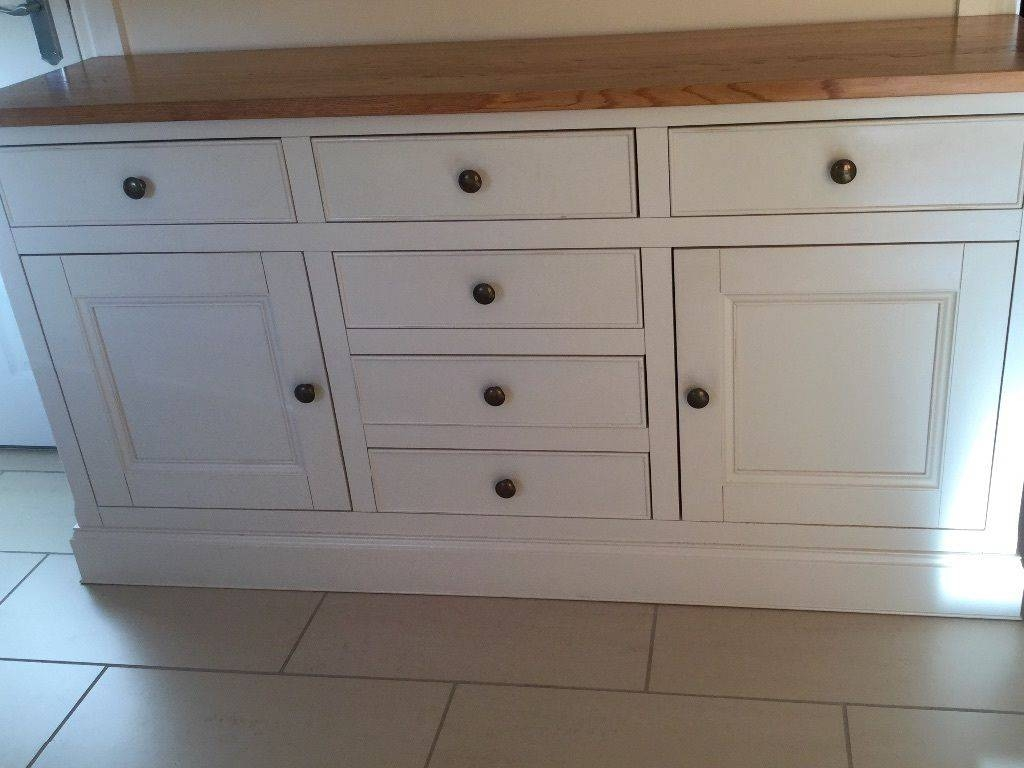 Sideboard Cream With Solid Oak Top Excellent Condition (#19 of 20)
