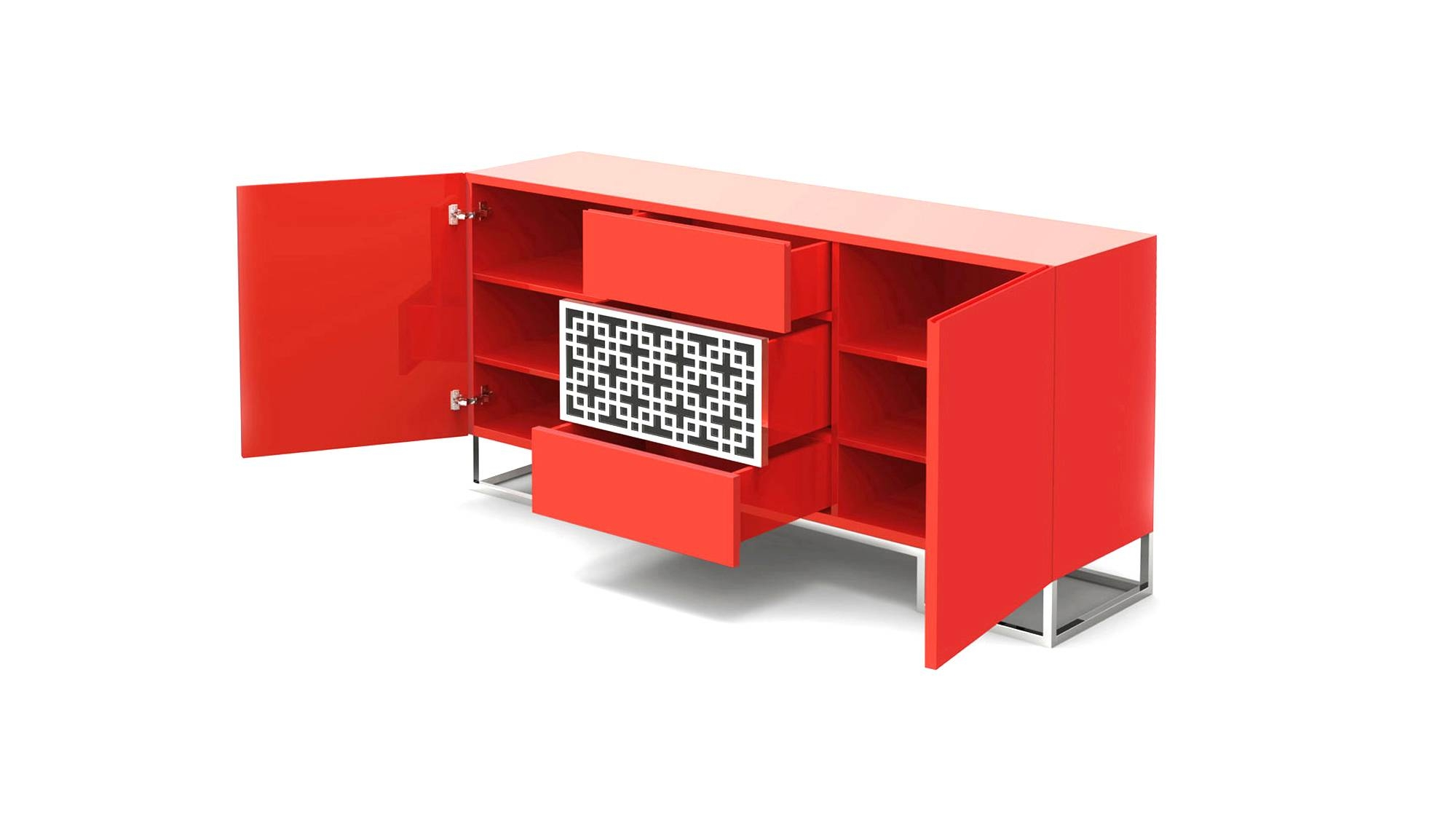 Sideboard With Central Motif | Forbidden City Intended For Red High Gloss Sideboard (View 3 of 20)
