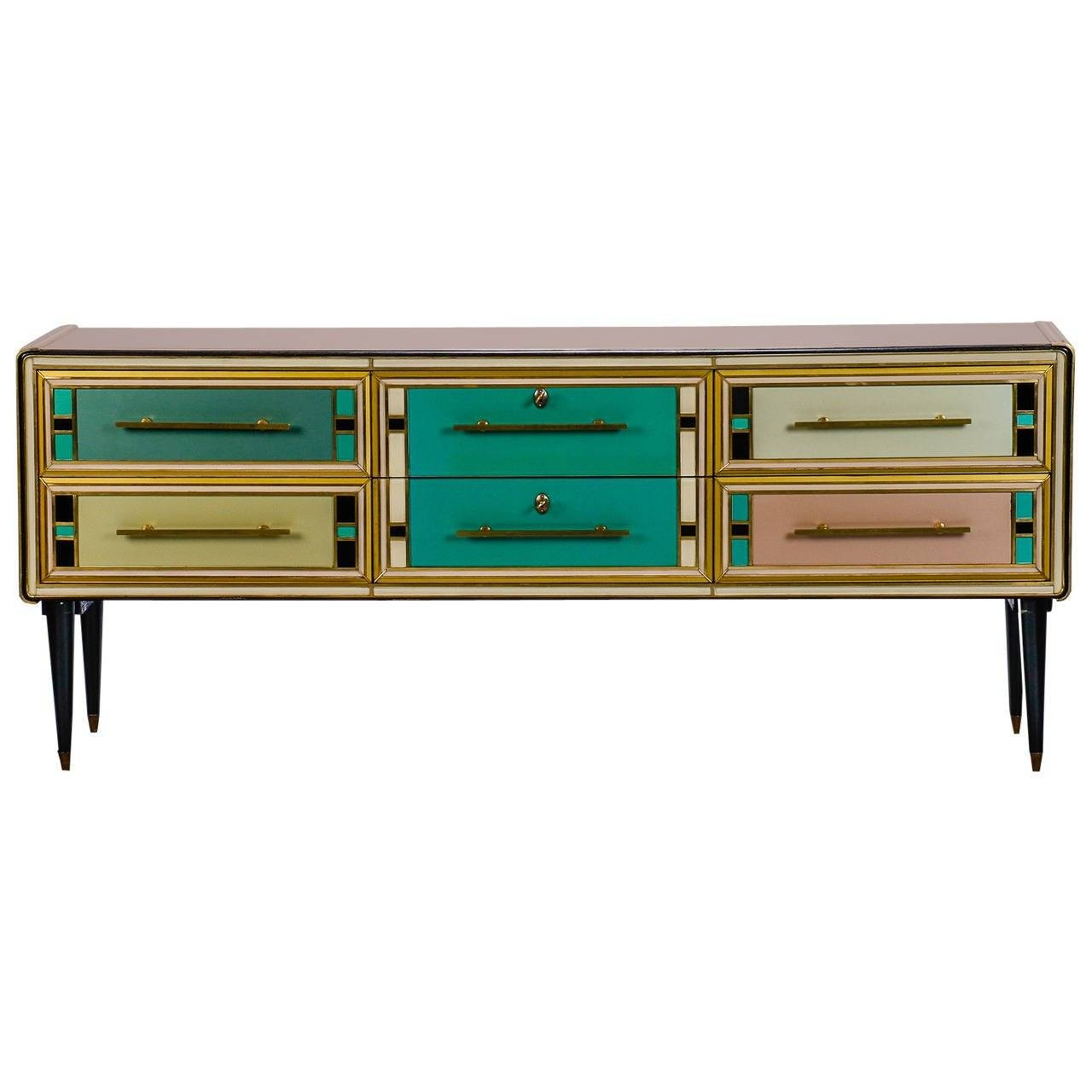 Sideboard With Multicolor Murano Glass Panels Attributed To In Glass Sideboard (#18 of 20)