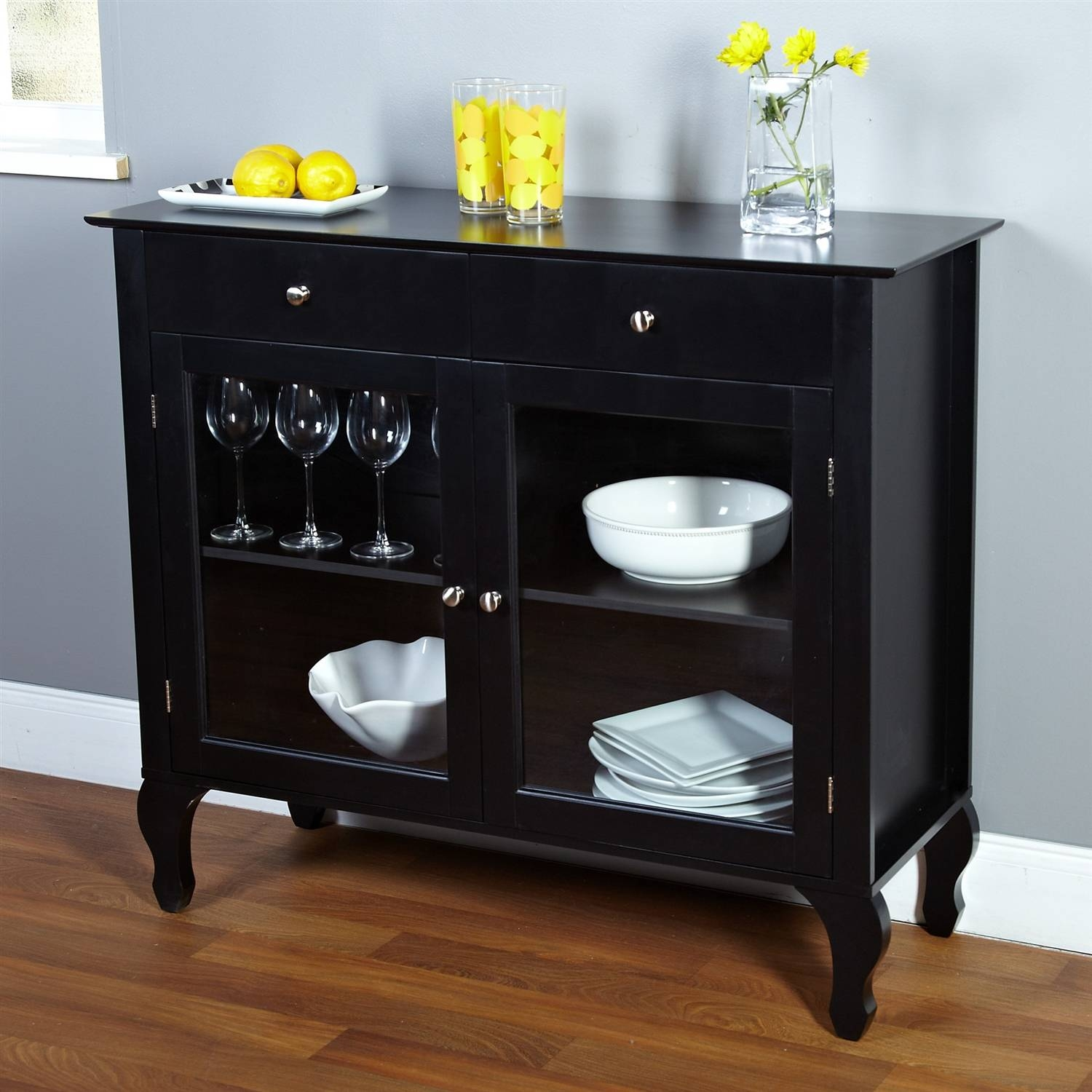 Sideboards: Amazing Glass Buffet Table Sideboard Glass Door Pertaining To Small Sideboards Cabinets (#10 of 20)