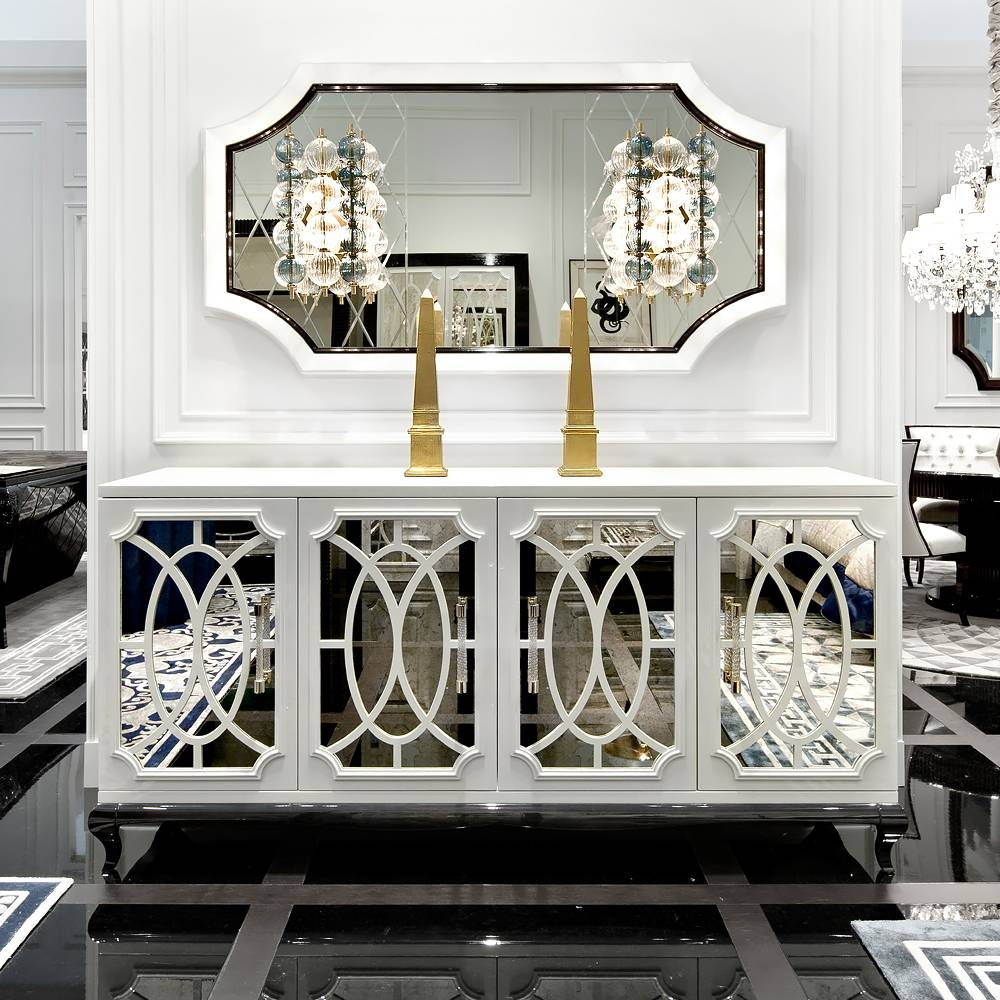Sideboards: Astounding Mirrored Buffet Cabinet Mirrored Buffet Inside Mirrored Sideboard Furniture (View 4 of 20)