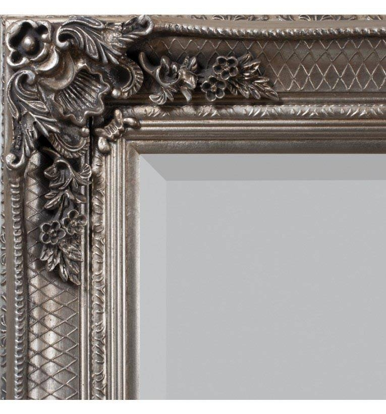 Silver Abbey Leaner Mirror 167 X 81Cm Abbigale Mirror Silver 167 X Pertaining To Large Ornate Silver Mirrors (View 17 of 20)