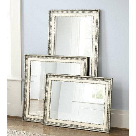 Silver And Ivory Ribbed Frame Mirror In Vintage Silver Mirrors (View 17 of 20)
