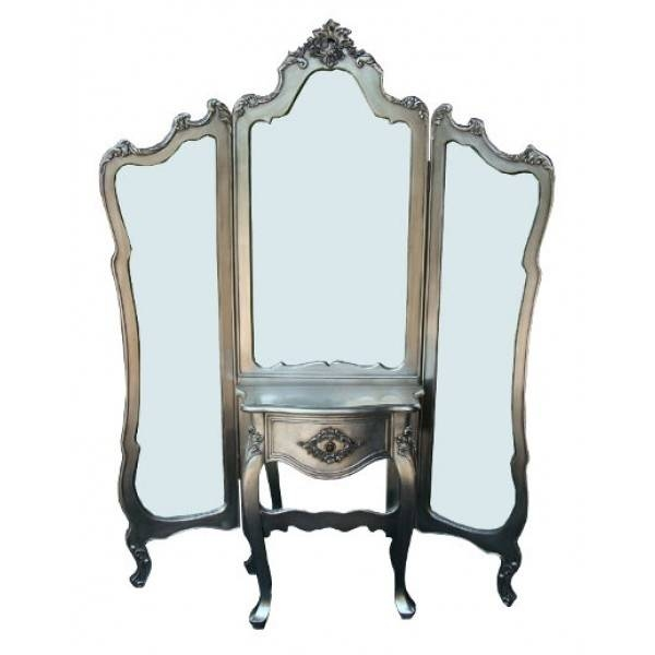Inspiration about Silver Antique Shabby Chic Full Length 3 Panel Mirror Dressing For Full Length Antique Dressing Mirrors (#4 of 30)