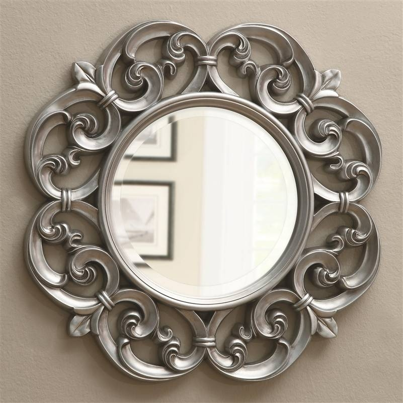 Silver Fleur De Lis Ornate Round Wall Mirrorcoaster – 900699 Inside Silver Ornate Mirrors (#21 of 30)