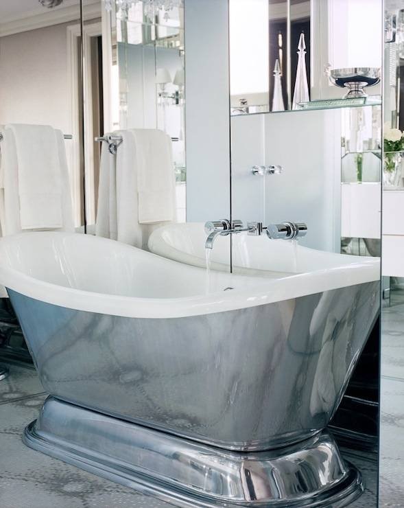 Silver Freestanding Tub Design Ideas With Regard To Free Standing Silver Mirrors (#27 of 30)