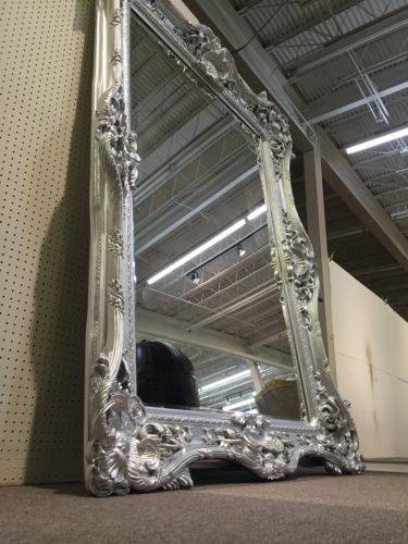 Silver Gothic Ornate Baroque Rococo Salon Boutique Statement Floor With Baroque Floor Mirrors (#18 of 20)