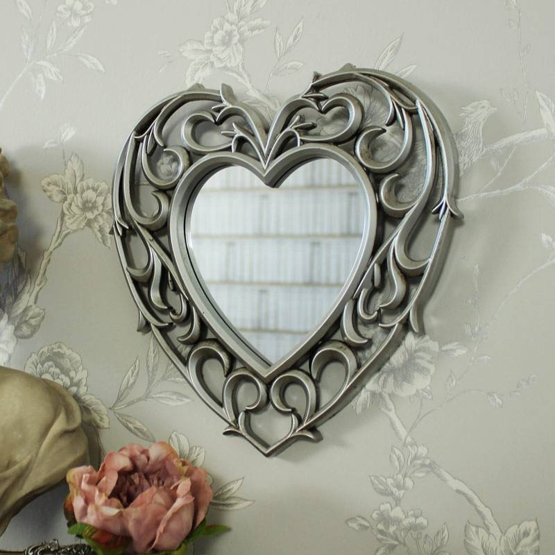 Silver Heart Shape Filigree Wall Mounted Mirror Shabby Ornate Chic Regarding Heart Shaped Mirrors For Wall (#18 of 20)