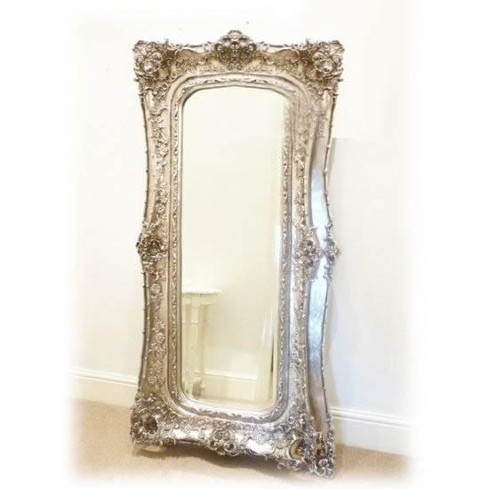 Silver Mirror Large Decorative Frame 180 X 89Cm Extra Large With Large Ornate Silver Mirrors (View 18 of 20)