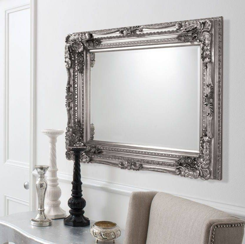 Silver Mirrors For Living Room Silver Mirror Living Room Within Large Ornate Mirrors For Wall (#19 of 20)