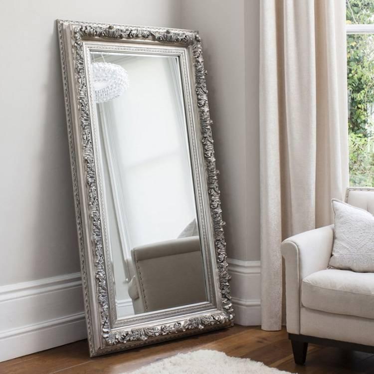 Silver Ornate Edmond Full Length Mirror 184 X 93Cm Large Silver Intended For Large Ornate Silver Mirrors (View 7 of 20)