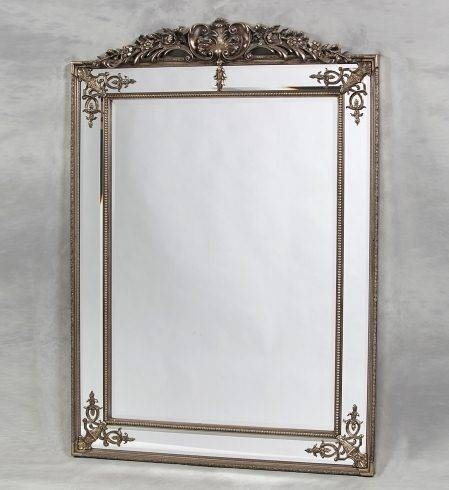 Silver Ornate Gilt Design Wall Mirror | French Mirror Company Within Ornate Gilt Mirrors (#25 of 30)