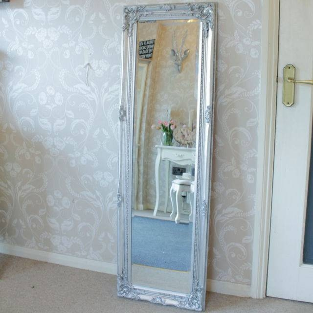 Silver Tall Slim Wall Mirror Shabby Vintage Chic French Ornate For Slim Wall Mirrors (View 25 of 30)