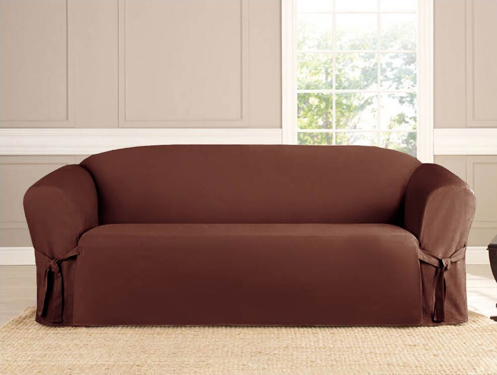 Slipcover Sofa Loveseat Chair Furniture Cover Brown Black Taupe Within 2 Piece Sofa Covers (#12 of 15)