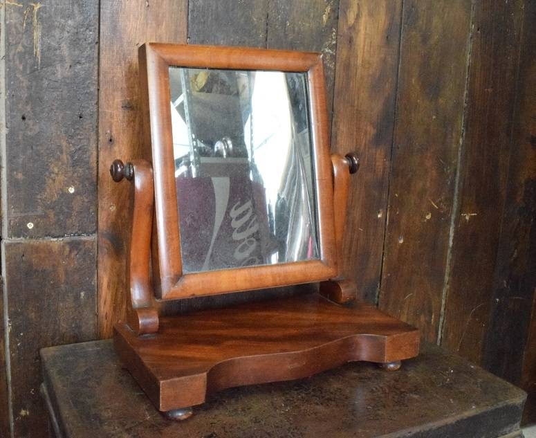 Small Antique Mahogany Dressing Table Mirror On Stand – Ashby For Mirrors On Stand For Dressing Table (#28 of 30)