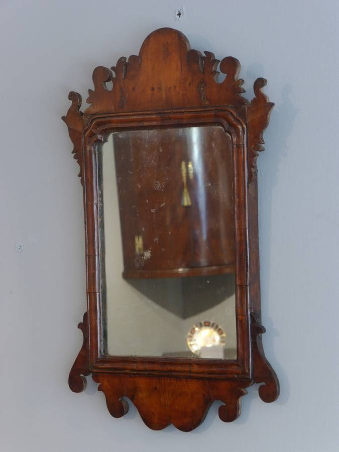 Small Antique Mirror, Yew Wood Mirror, Fret Mirror, Georgian With Regard To Small Antique Wall Mirrors (#27 of 30)