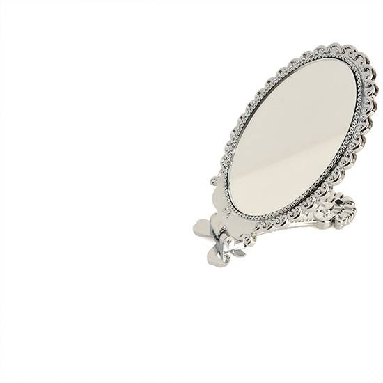 Small Decorative Vintage Antique Style Silver Hand Held Standing Within Free Standing Silver Mirrors (#29 of 30)