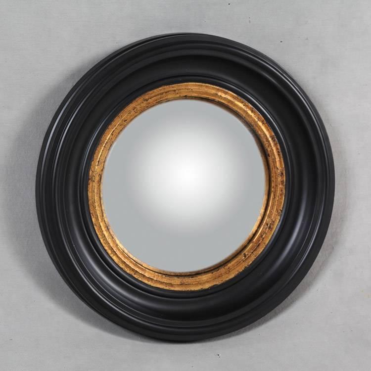 Small Round Black Convex Mirror 40Cm X 40Cm Black And Gold Round Throughout Black Convex Mirrors (#20 of 20)