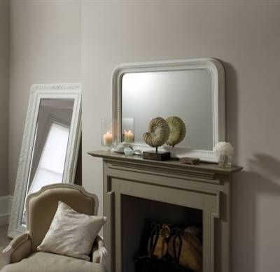 Inspiration about Snapdragon, Bretagne Distressed White Overmantle Mirror With Regard To White Overmantle Mirrors (#6 of 30)
