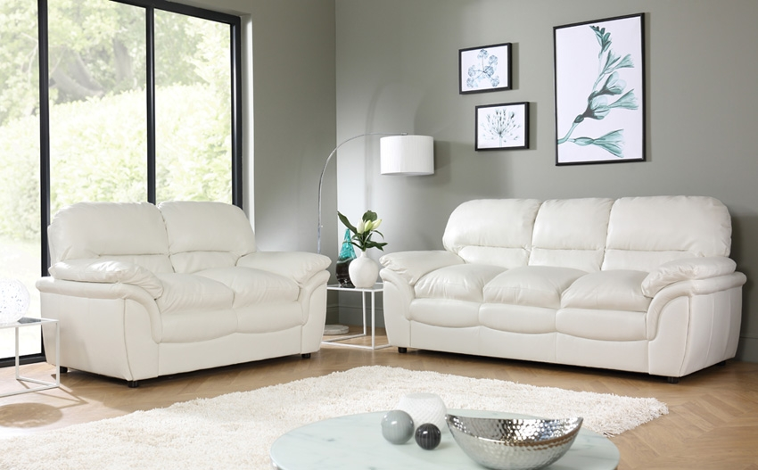Sofa Fancy White Leather Sofas 2017 Collection White Couch Ikea Intended For Off White Leather Sofa And Loveseat (#10 of 15)