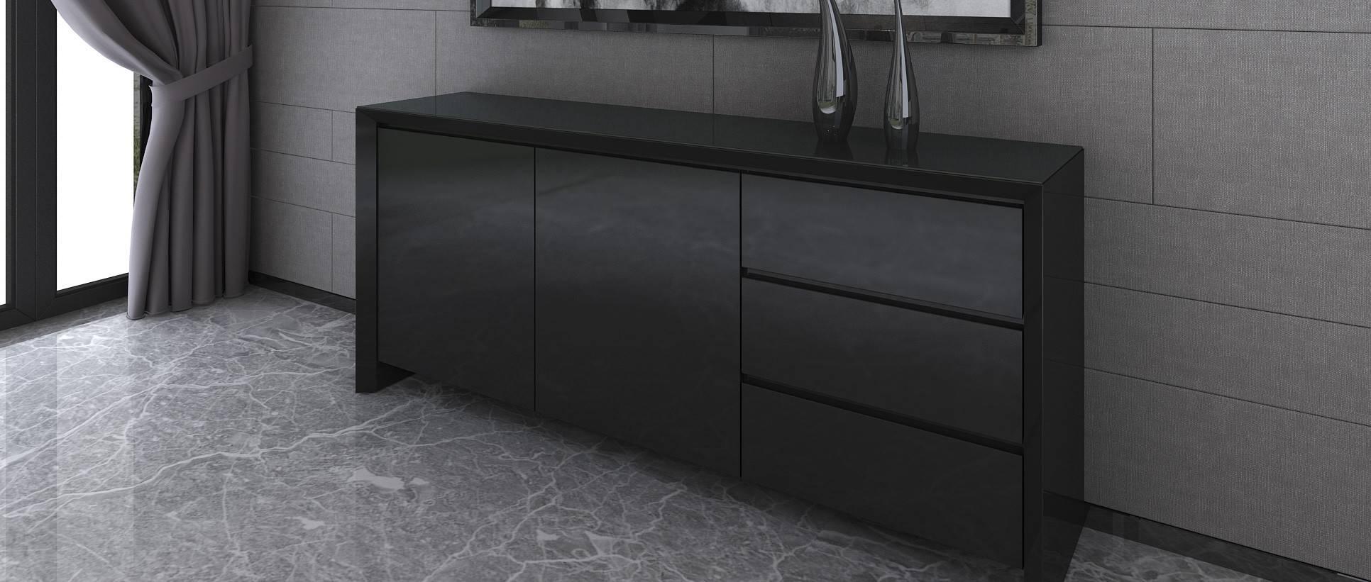 Soho – Extra Large Sideboard – Black High Gloss Throughout Black High Gloss Sideboard (#19 of 20)