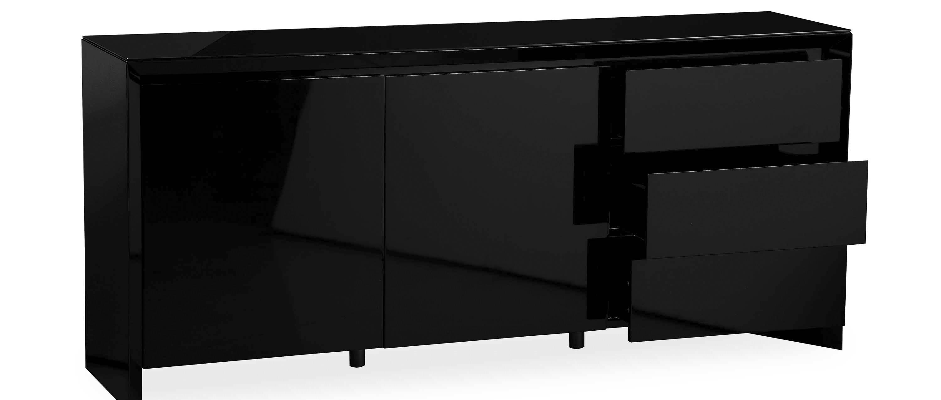 Soho – Extra Large Sideboard – Black High Gloss With Black Sideboard (View 9 of 20)
