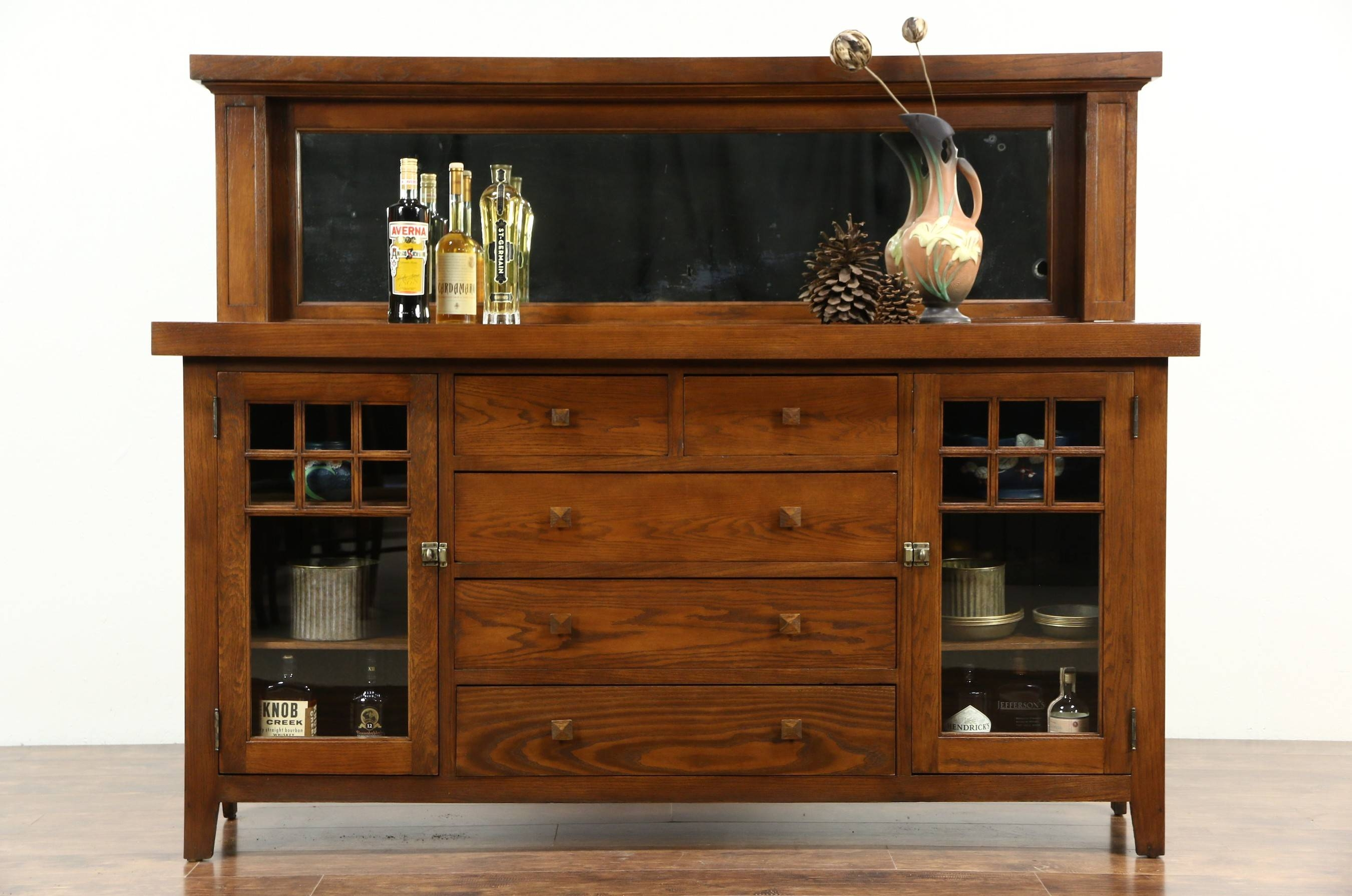 Sold – Arts & Crafts Mission Oak 1900 Antique Craftsman Sideboard Pertaining To Sideboard Mirror (#19 of 20)
