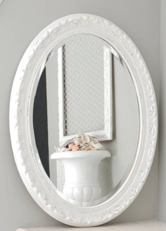 Sold Shabby Chic White Oval Mirror Large Oval Shabby Chic For Oval Shabby Chic Mirrors (View 4 of 20)