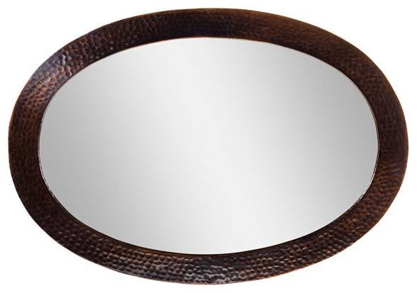 Solid Hammered Copper Framed Oval Mirror – Transitional – Wall Throughout Oval Mirrors For Walls (View 11 of 20)