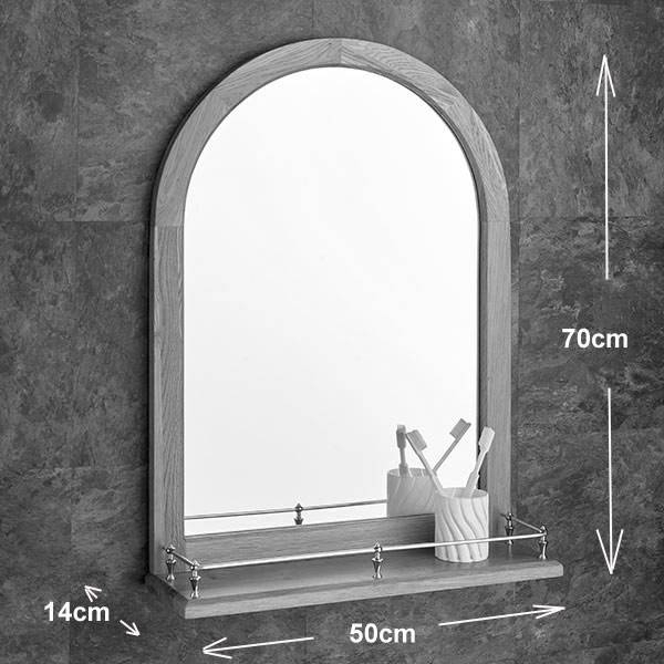 Solid Oak Arched Mirror 70Cm X 50Cm With Shelf With Regard To Arched Bathroom Mirrors (#19 of 20)