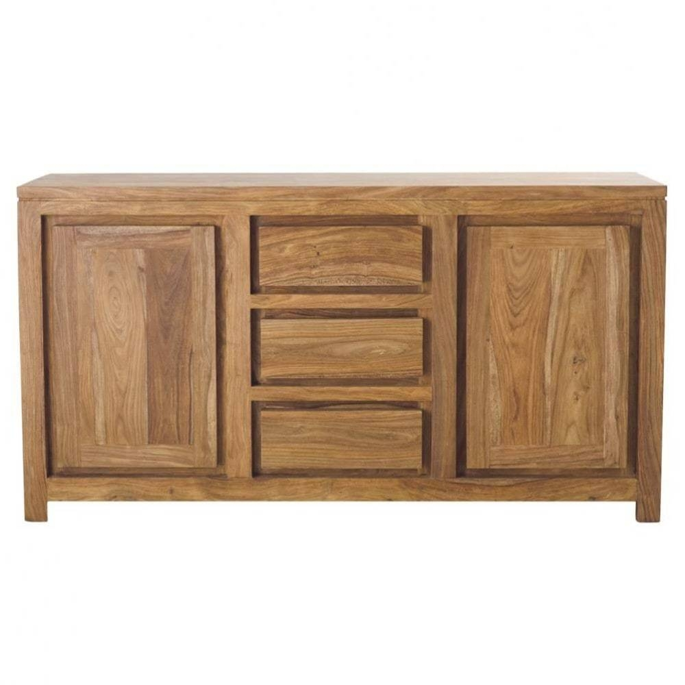 Solid Sheesham Wood 2 Door 3 Drawer Sideboard Stockholm   Maisons Intended For Sheesham Sideboards (View 20 of 20)