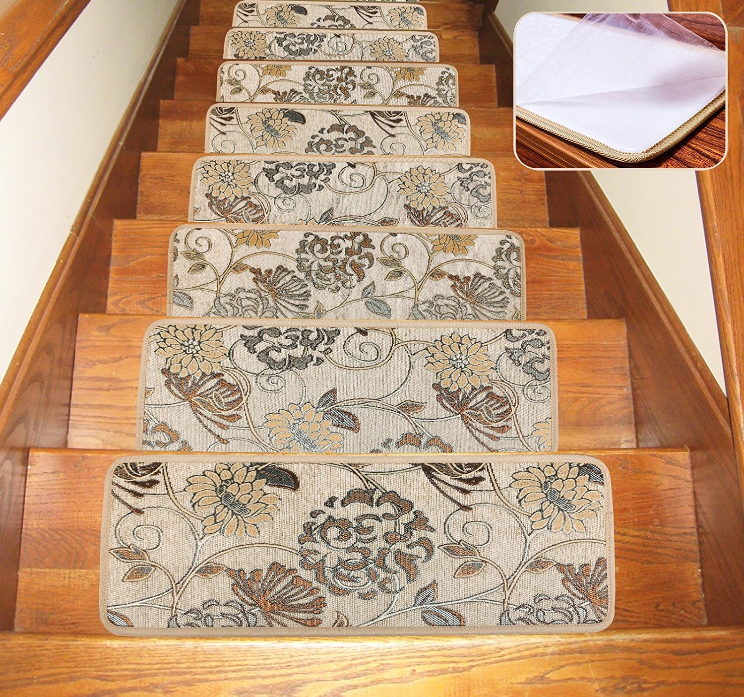 Soloom Carpet Stair Treads Indoor Set Of 13 Blended Jacquard Skid Throughout Rubber Backed Stair Tread Rugs (View 14 of 20)