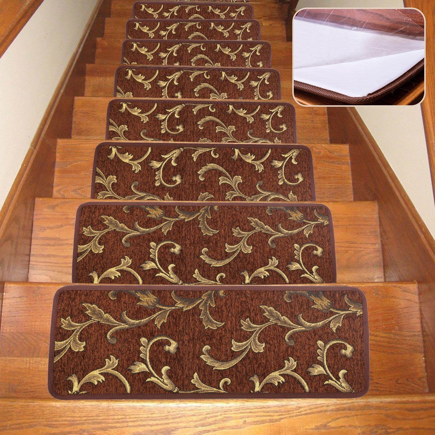 Soloom Non Slip Stair Treads Carpet Indoor Set Of 13 Blended Pertaining To Rubber Backed Stair Tread Rugs (View 3 of 20)