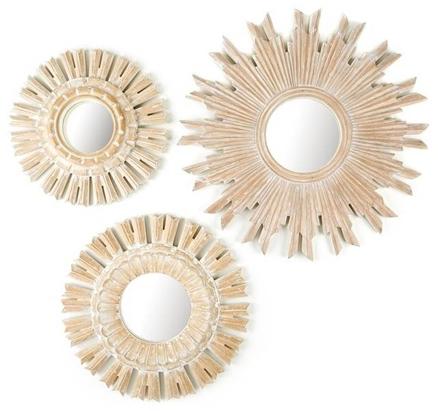 Solstice Set Of 3 Hand Carved Round Wall Mirrors With White Washed In Round White Mirrors (#24 of 30)
