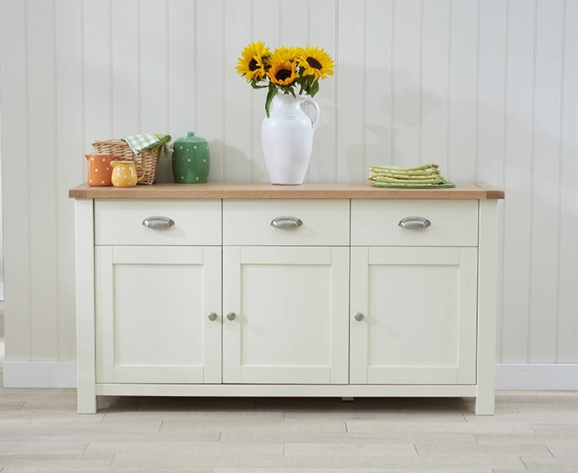 Somerset 3 Door 3 Drawer Oak And Cream Sideboard | The Great Within Cream Sideboard (#20 of 20)