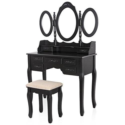 Songmics Vanity Set W/ Stool Make Up Dressing Table, 3 Mirrors 7 For Black Dressing Mirrors (View 18 of 20)