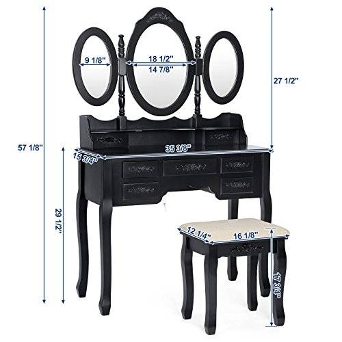 Songmics Vanity Set W/ Stool Make Up Dressing Table, 3 Mirrors 7 Within Black Dressing Mirrors (View 9 of 20)