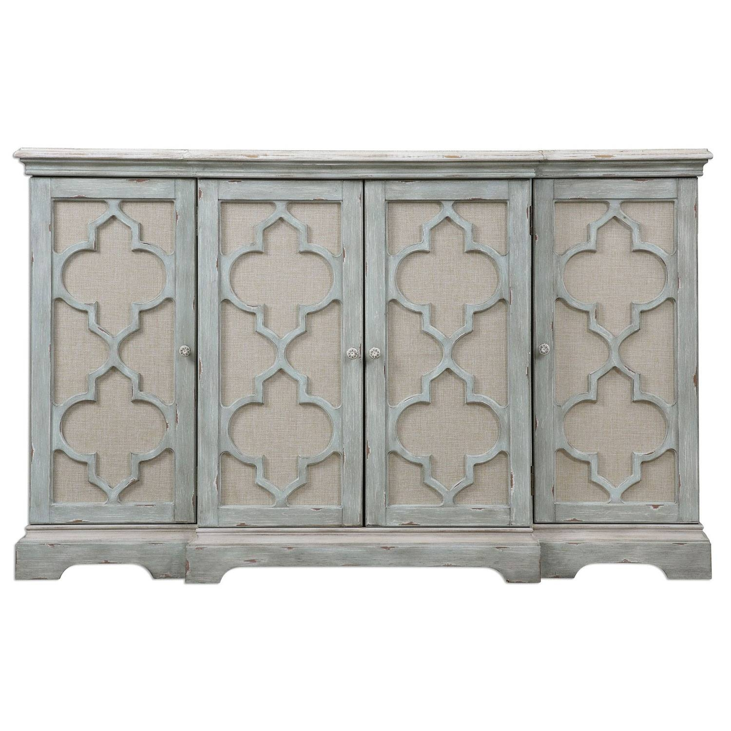 Sophie Weathered Gray Four Door Cabinet Uttermost Cabinets Accent With Regard To 12 Inch Deep Sideboard (View 3 of 20)