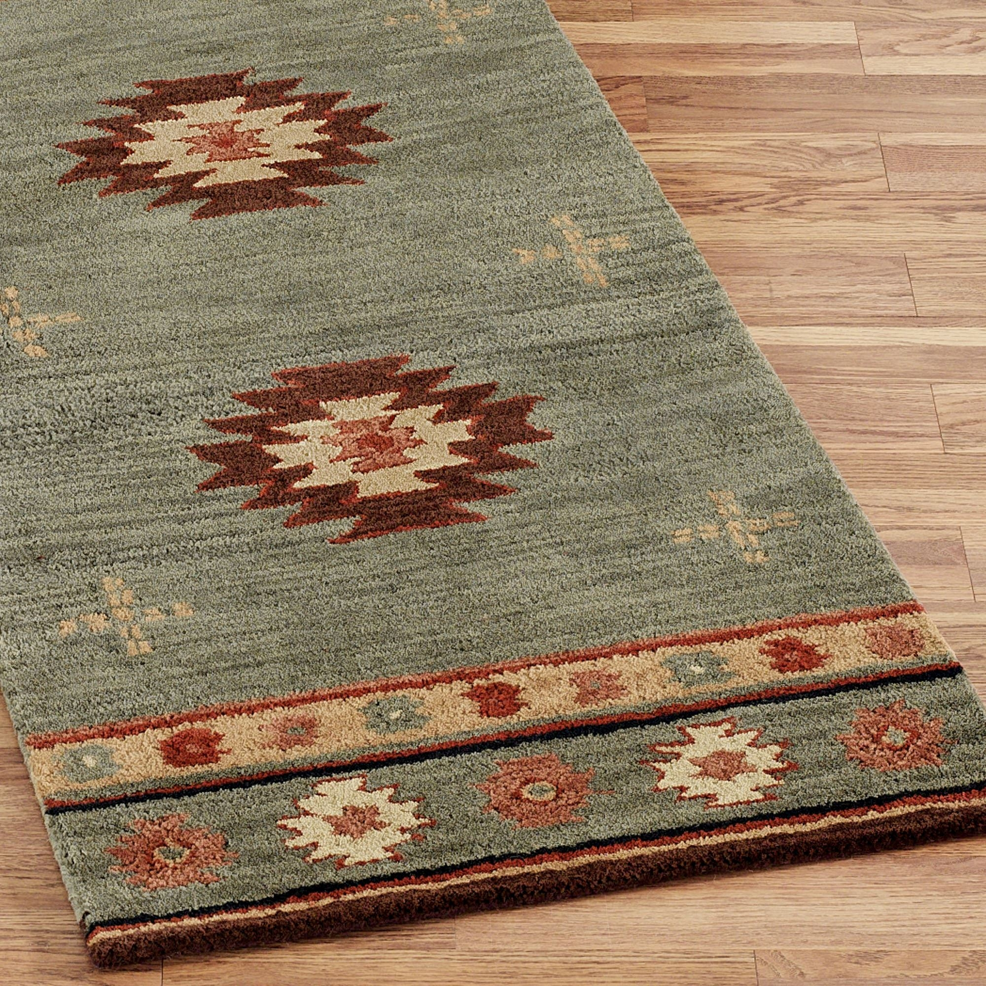 Southwest Diamond Wool Rug Runners In Rug Runners For Bathroom (#18 of 20)