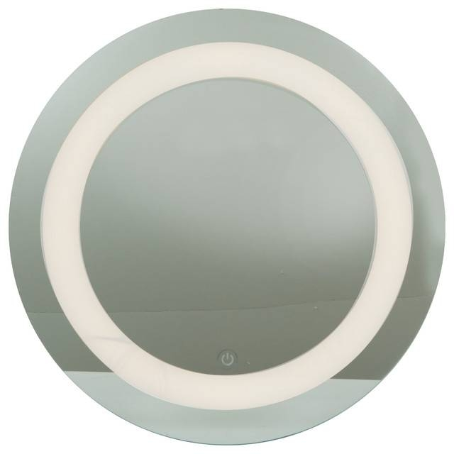 Spa, Damp Location Round Mirror, Led, Mirror Finish With Frosted Throughout White Round Mirrors (#26 of 30)