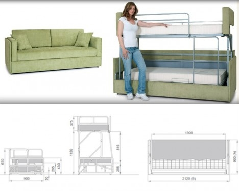 Space Saving Sleepers Sofas Convert To Bunk Beds In Seconds Regarding Sofa Bunk Beds (#14 of 15)
