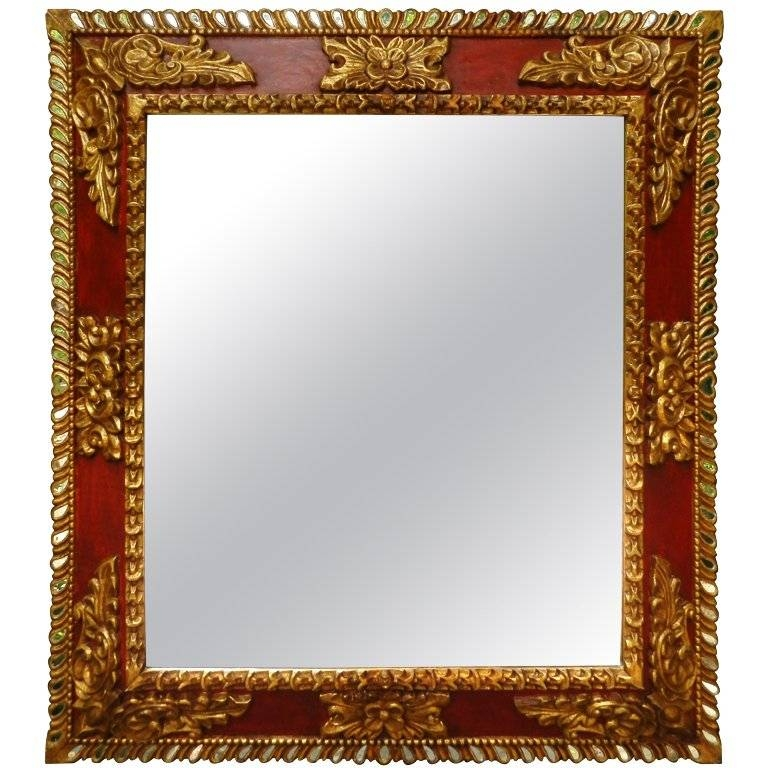 Spanish Colonial Style Red With Gold Leaf Reflector Mirror For Regarding Red Wall Mirrors (#29 of 30)