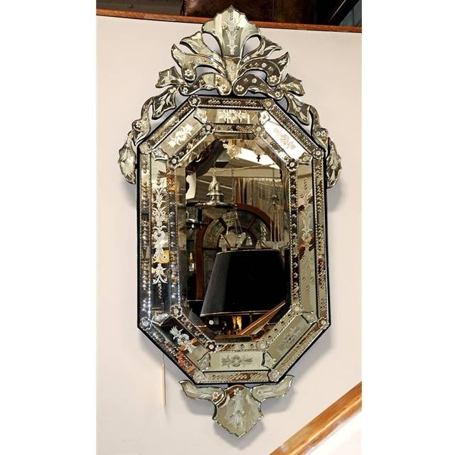Spectacular Octagonal Venetian Mirror With Crest For Sale Inside Venetian Antique Mirrors (View 5 of 20)