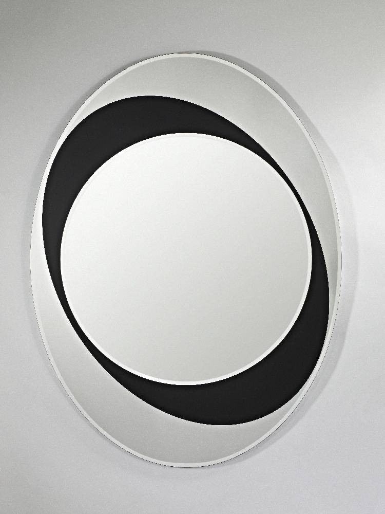 Sphere Oval Frameless Bevelled Wall Mirror With Black Glass In Black Bevelled Mirrors (#17 of 20)