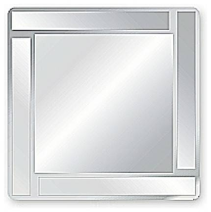 Square Bevel Overlay Trim Decorative Frameless Wall Mirror The In Square Frameless Mirrors (#27 of 30)